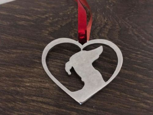 Lurcher in your heart christmas tree decoration  brass copper or aluminium